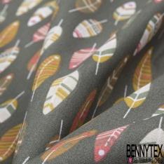 Coton imprimé motif plumes indiennes sur fond kaki foncé