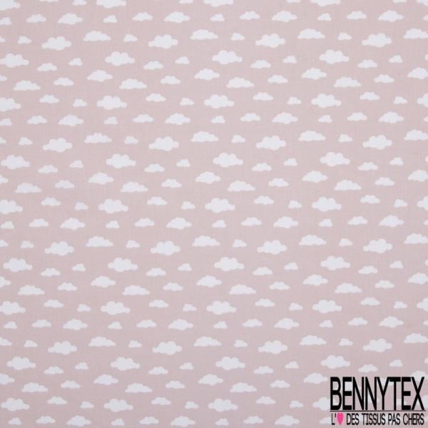 Coton imprimé motif nuage blanc sur fond rose pâle