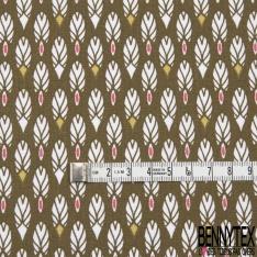 Coton imprimé motif plume indienne blanche sur fond kaki