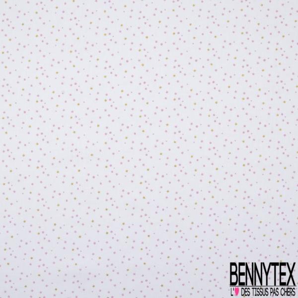 Coton imprimé motif petites étoiles roses et dorés et petit pois roses
