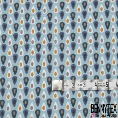 Coton imprimé motif petites gouttes fantaisistes sur fond bleu givré