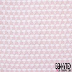 Coton imprimé motif méduse blanche sur fond rose