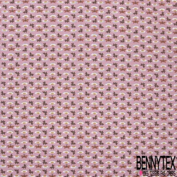 Coton imprimé motif papillons roux et petites plantes sur fond incarnadin