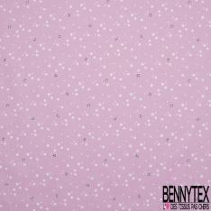 Coton imprimé motif étoile blanche et marron sur fond rose