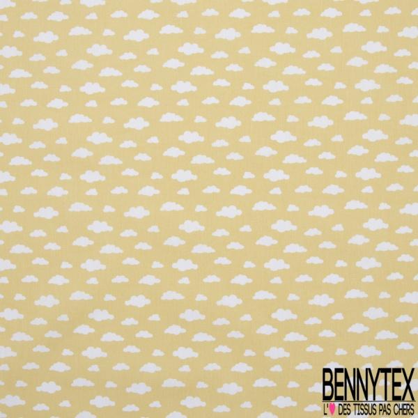 Coton imprimé motif nuage blanc fond jaune