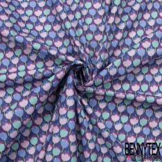 Coton imprimé motif tulipe multicolore fond violet