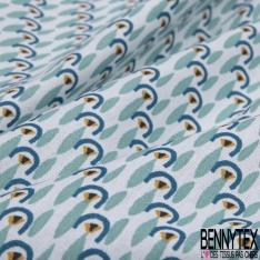 Coton imprimé motif sardine bleue tiffany fond blanc