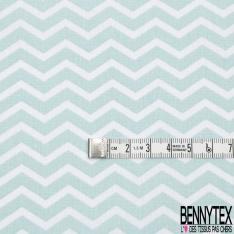 Coton Imprimé motif zig zag bleu et blanc