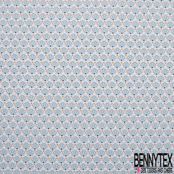 Coton imprimé petit motif original bleu ciel , marine et moutarde sur fond blanc