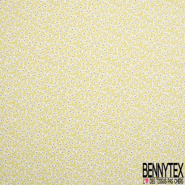 Coton imprimé motif plante blanche et gris foncé sur fond vert