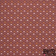 coton imprimé motif éventail japonisant marron sur Fond marsala