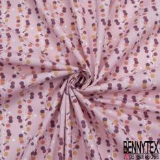 coton imprimé motif plante original tige blanche et feuilles rondes multicolores fond rose
