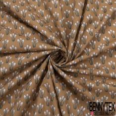 coton imprimé motif petite plante verte foncée Fond marron clair
