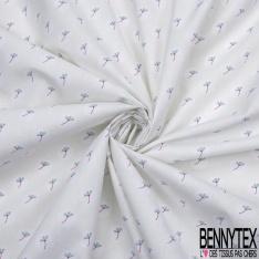 coton imprimé motif petite feuille bleue et fuchsia Fond blanc
