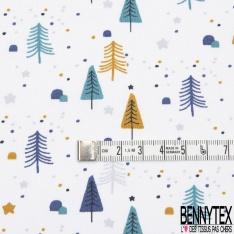 coton imprimé motif feuille multicolore fond blanc