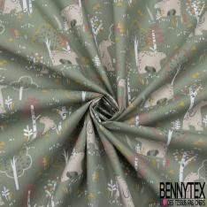 coton imprimé motif petit paon bleu canard et vert anis Fond blanc avec des petites plumes volantes