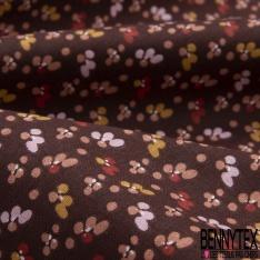 coton imprimé motif petites fleurs moutardes , rouges , rose et saumon Fond lie de vin