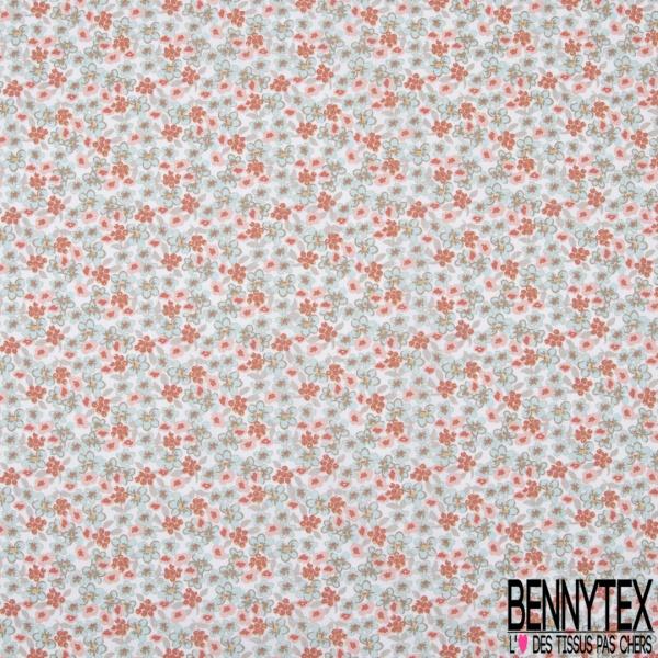 coton imprimé motif fleurs bleues et roses avec myrtille rouge capucine Fond blanc