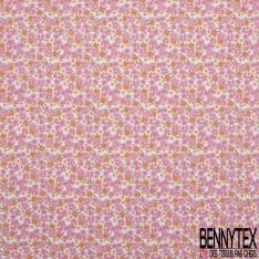 coton imprimé motif fleurs roses et beiges avec myrtille orange Fond blanc