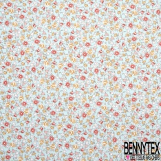 coton imprimé motif fleurs multicolores Fond bleu ciel
