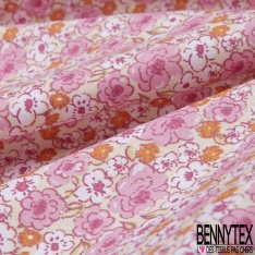 coton imprimé motif fleurs roses blanches et oranges Fond jaune clair