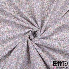 coton imprimé motif fleurs roses blanches et vertes claires Fond bleu ciel
