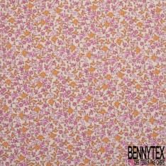 coton imprimé motif fleurs roses/fuchsias , oranges et blanches Fond beige