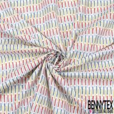 coton imprimé motif petits traits multicolores Fond blanc