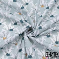 coton imprimé motif lapin bleu givré dans la nature multicolore Fond gris violet