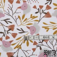 coton imprimé motif huppe fasciée Fond blanc avec des plantes marrons , moutardes et marsala