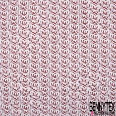 coton imprimé motif plante rouge Bismarck avec petits points noirs Fond blanc