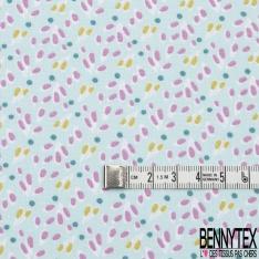 coton imprimé motif goutte rose balais et vert tilleul et pois bleu canard Fond bleu