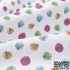 coton imprimé motif pois originaux multicolores , Fond blanc