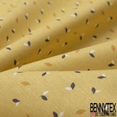 coton imprimé motif petite feuille bleue marine , moutarde foncé et blanche Fond moutarde