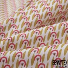 Coton imprimé motif sardine verte granite et rouge corail fond blanc