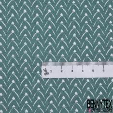 coton imprimé motifs originaux blanc , Fond bleu sarcelle