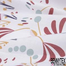 coton imprimé motif plante originale lie de vin , moutarde , rose , bleu givré et bleu marine Fond blanc