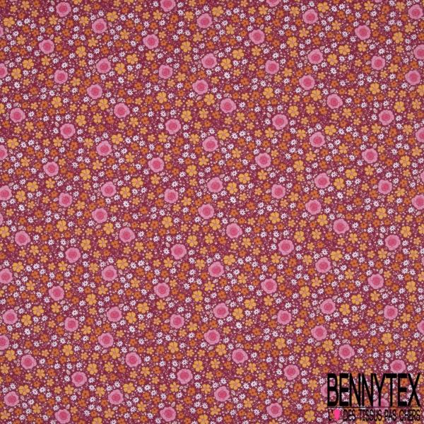 coton imprimé motifs fleurs variées multicolores, Fond framboise