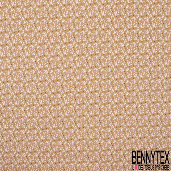 coton imprimé motif petites gouttes givré et roses et poids framboises , Fond ocre rouge