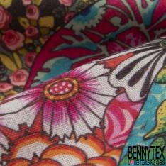 coton demi natté imprimé digital motif hippie multicolore