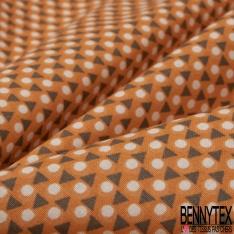 coton imprimé motifs petits triangles gris et pois blancs , Fond orange