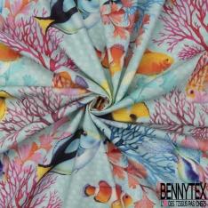 coton demi natté imprimé digital motif poissons multicolores dans la mer bleue