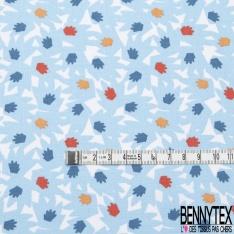 coton imprimé motif formes originales rouges , bleues marine et blanches , Fond bleu ciel
