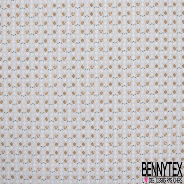 coton imprimé motif formes originales blanches , ocres rouges et pois bleus canard , Fond gris clair