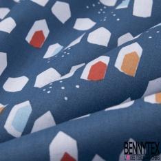 coton imprimé motif formes géométriques blanches , bleues ,oranges et rouges , Fond bleu azur
