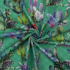 Coton demi natté imprimé digital motif cactus multicolores sur Fond vert clair