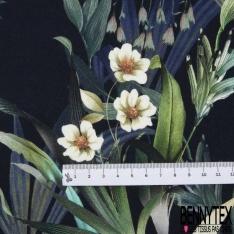 Coton demi natté imprimé digital motif plantes fleurissantes Fond bleu nuit