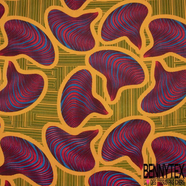 Wax Africain N°984: Motif pagnes africains rouges et bleus , Contour orange , Fond rayé vert et orange