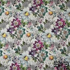 Coton demi natté imprimé digital motif papillons et abeilles dans la nature multicolore Fond blanc moucheté