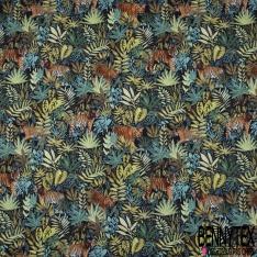 Coton demi natté imprimé digital motif tigre orange dans la jungle Fond bleu nuit